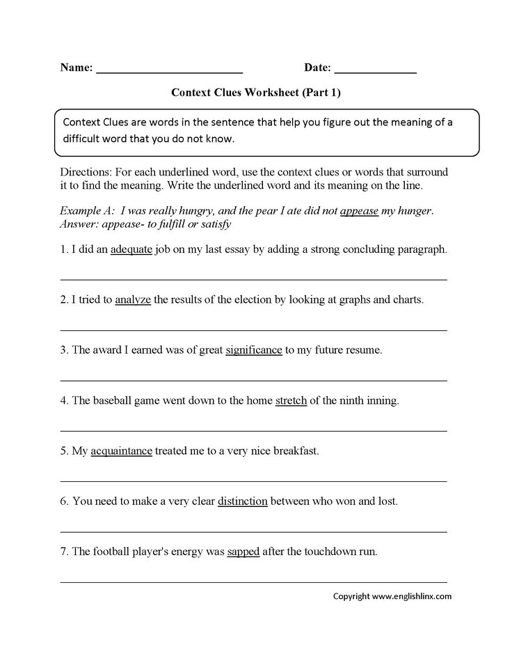 Context clues worksheets first grade