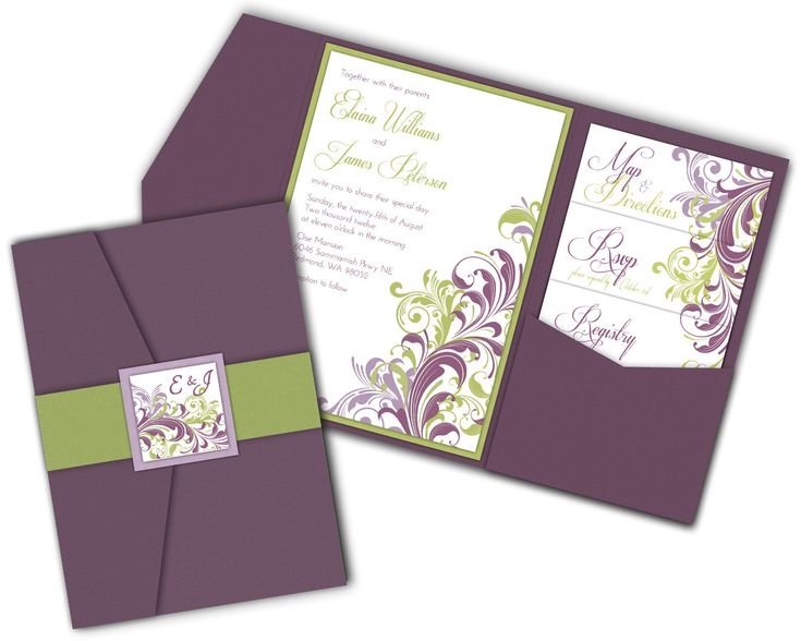 Corner Flourish Filigree Wedding Invitation Pocket Fold Or Basic Ca