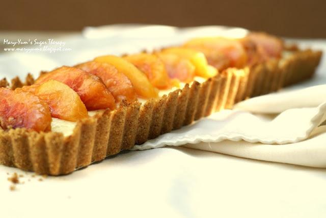 Mascarpone nectarine tart with smoky almond crust.