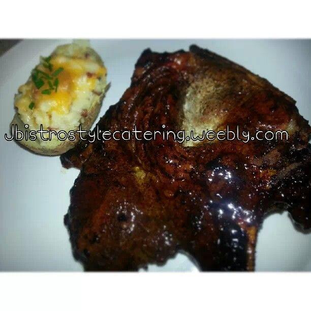 Maple glazed pork chops with ultimate twice baked potato!