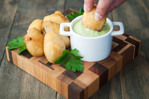 Fried Pickles with Green Goddess Aioli