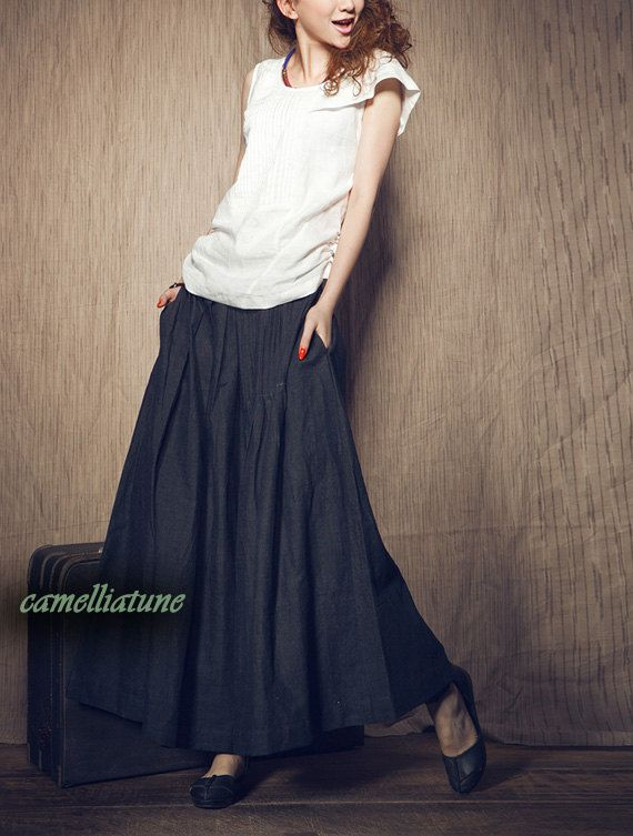 linen skirt navy blue ruffle skirt pleated maxi