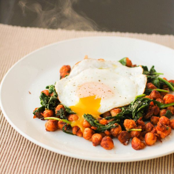 Smoky Chickpeas with Spinach and a Fried Egg | Recipe