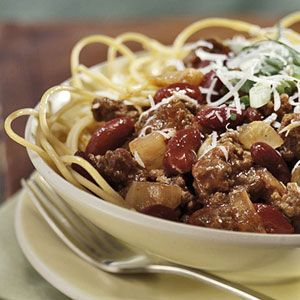 "Cincinnati Chili - Cincinnati, a ""five-way"" is a plate of spaghetti..."