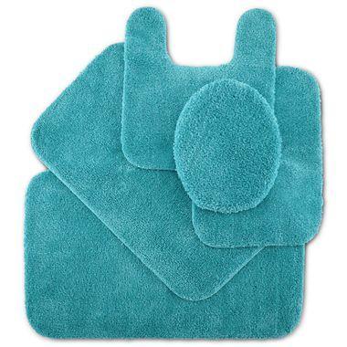 Fantastic Square Design Turquoise Blue Bathroom Mat  Bath Rug