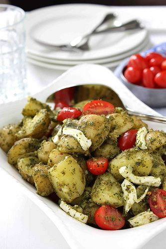 Pesto Potato, Tomato & Fresh Mozzarella Salad Recipe | cookincanuck ...