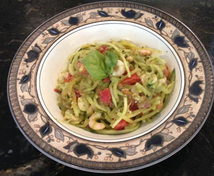 ... tomatoes add zucchini and sauté until al dante add pesto and shrimp