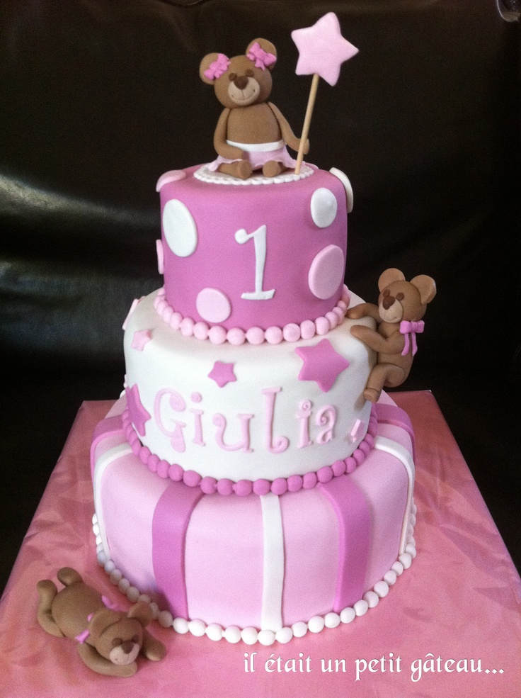 baby girl cake g teau b b fille oursons 1st bday ideas. Black Bedroom Furniture Sets. Home Design Ideas