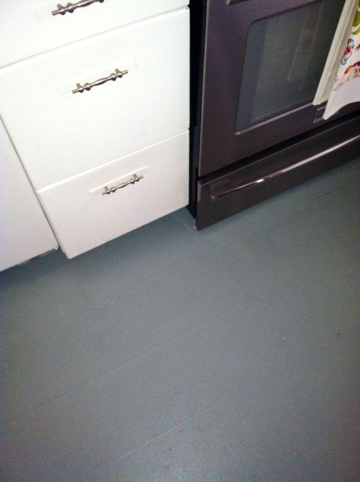 Painted laminate floor. Used Valspar bonding primer for glossy ...