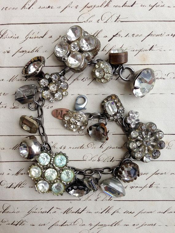 Vintage Rhinestone Button Bracelet Number 20 by PaulaMontgomery, $90.00