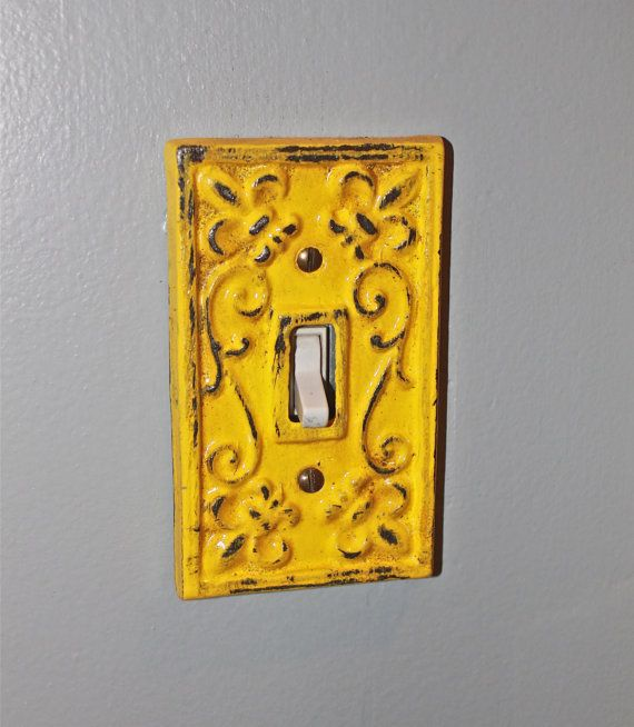 Yellow decorative light switch plate single switch cover for Unique light switch plates