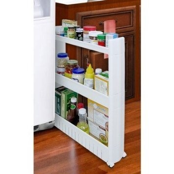 Slideout storage tower organizer slide out slim narrow for Narrow pull out kitchen storage