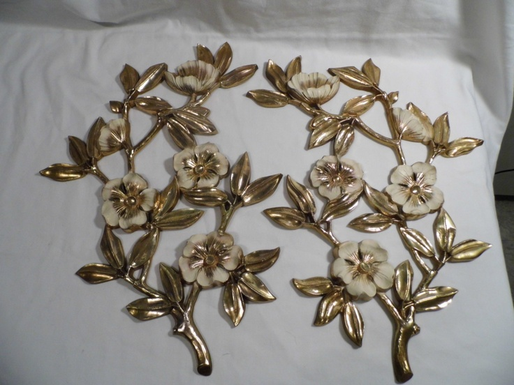 Vintage Gear Wall Decor : Vintage syroco large dogwood magnolia gold wall plaques