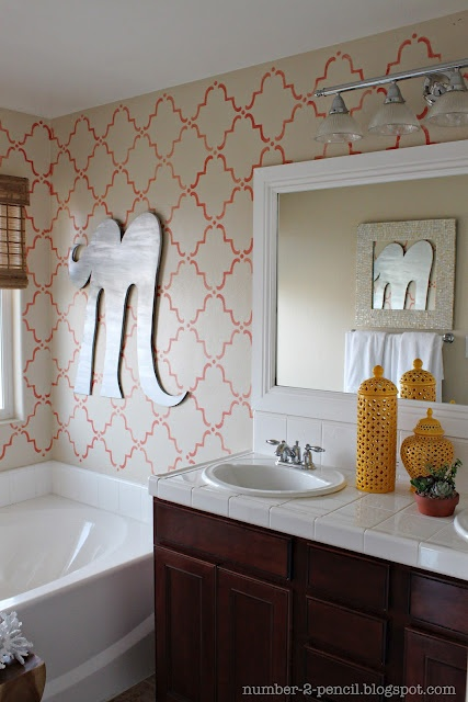 Coral Wall Stencil And Bathroom Makeover Decorating Pinterest
