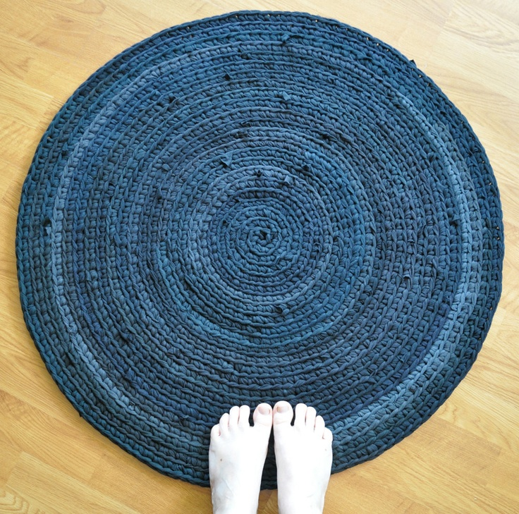 Shirt Rug by EKRA Black Crochet Round Upcycled Area. $92.00, via ...
