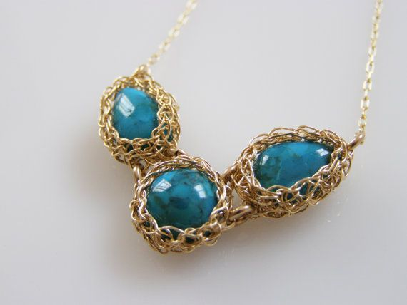 Turquoise Necklace Crochet Necklace  Gold filled Wire by orithadad, $75.00