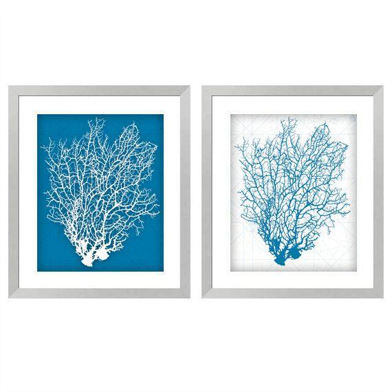 Aqua Coral Digital Print White Coral Wall Decor Aqua