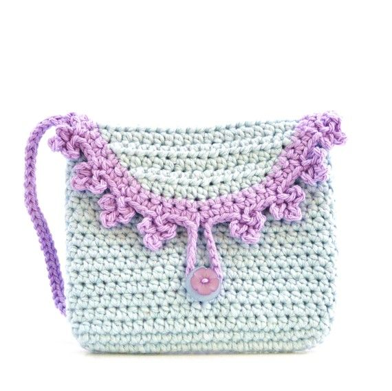 Crochet Baby Purse : Purse for Girls - Crochet - Baby Blue and Lilac - Fashion Bag - Littl ...