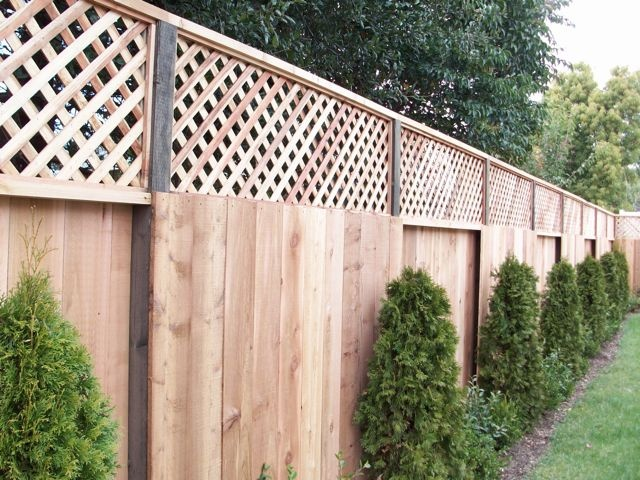 Good Neighbor Fence With Lattice Solid Wood Fences