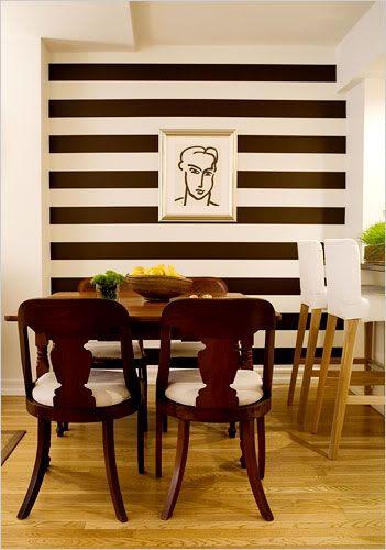 Temporary Wall Treatment Ideas for Renters; dark brown vinyl strips.