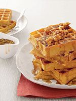 Pumpkin waffles! The waffle iron didn't work so we made them into ...