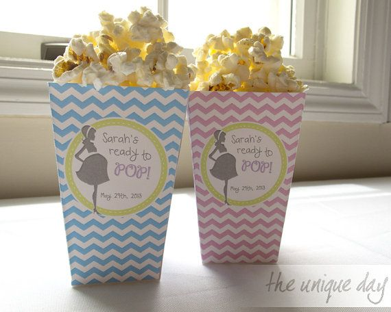 ready to pop baby shower pregnant mom chevron popcorn box party favor