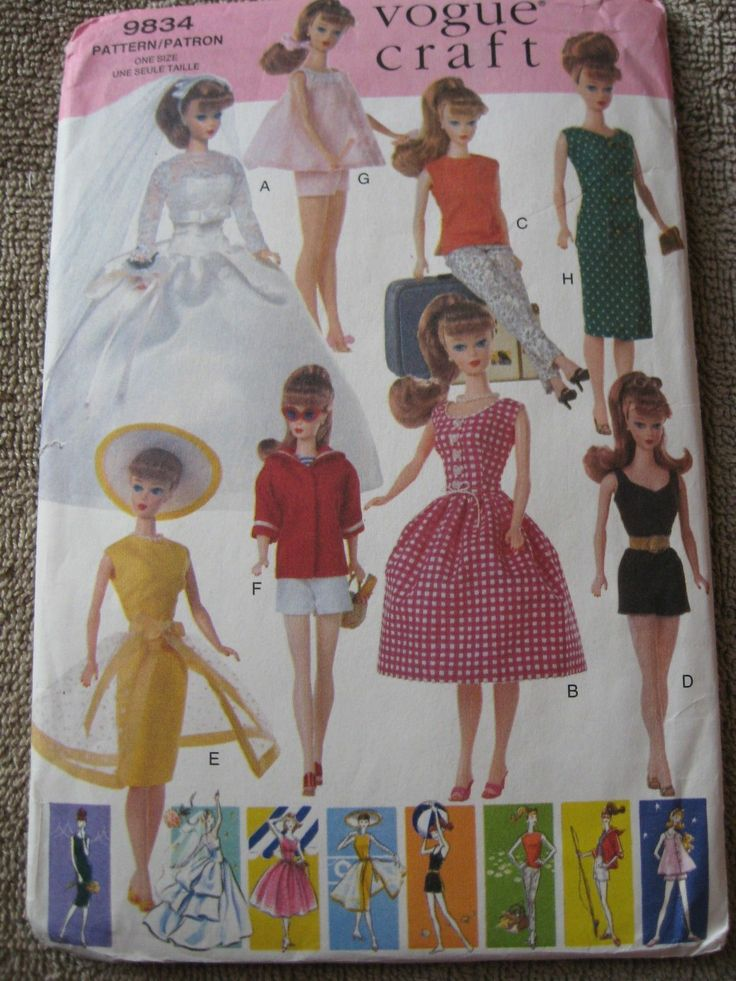 Vogue 9834 Barbie Doll Clothes Sewing Pattern Uncut | eBay