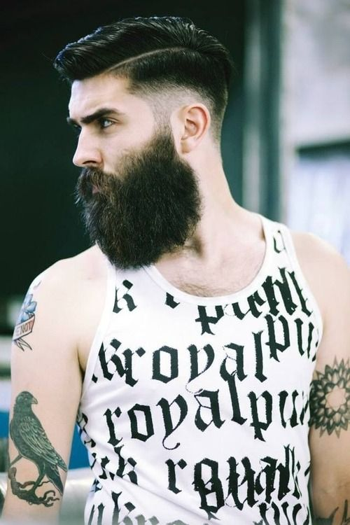 Beard tattoos and under cut beards barbers barbarians pinterest - Barbe hipster chic ...
