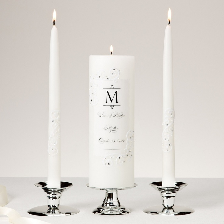 Piazza Lace And Crystals Unity Candle And Tapers Set Wedding Unity