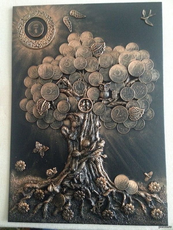 Денежное дерево панно своими руками