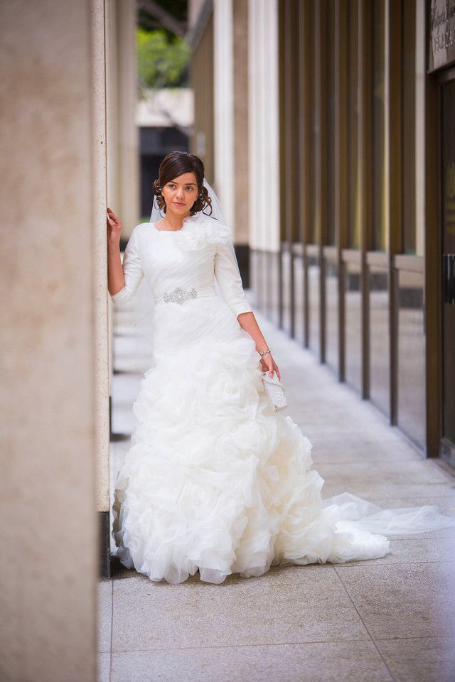 Stunning 3/4 Sleeve Fit & Flare | Modest Wedding Gown http://www ...
