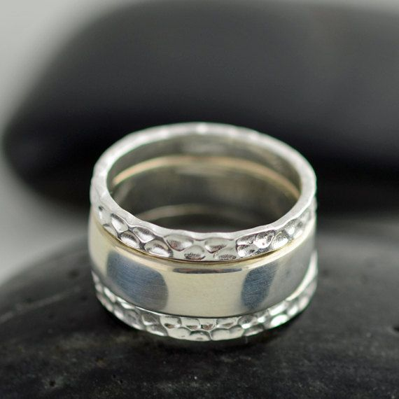 stackable mothers ring sterling silver rings hammered