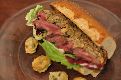 Steak Sandwich with Bacon, Caramelized Onion-Jalapeno Sauce, and ...