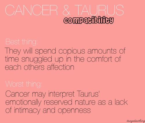 cancer woman dating a taurus man
