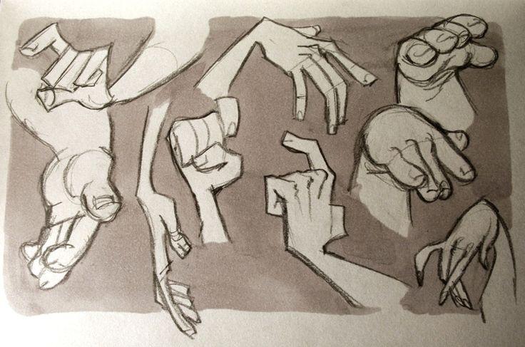 dibujo de manos delagadas y gruesas