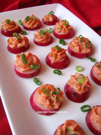 Radish smoked salmon mousse canapes appetizers and for What is a canape appetizer