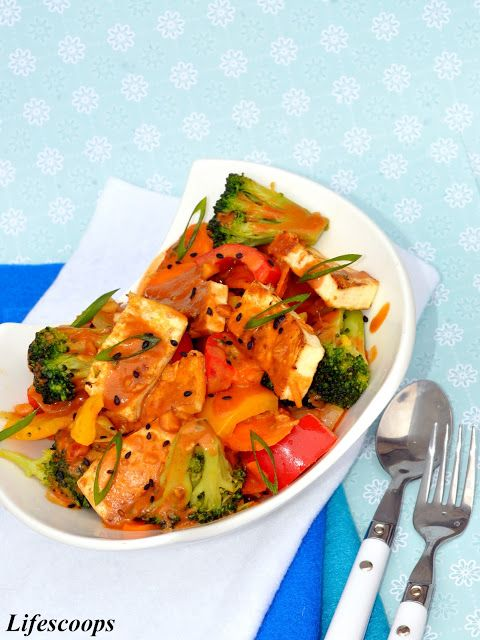 Fried Tofu With Spring Vegetables And Peanut Sauce Recipe ...