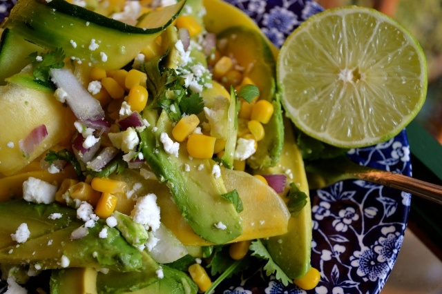 Zucchini ribbon salad with sweet corn, avocado, and feta. From 'a ...