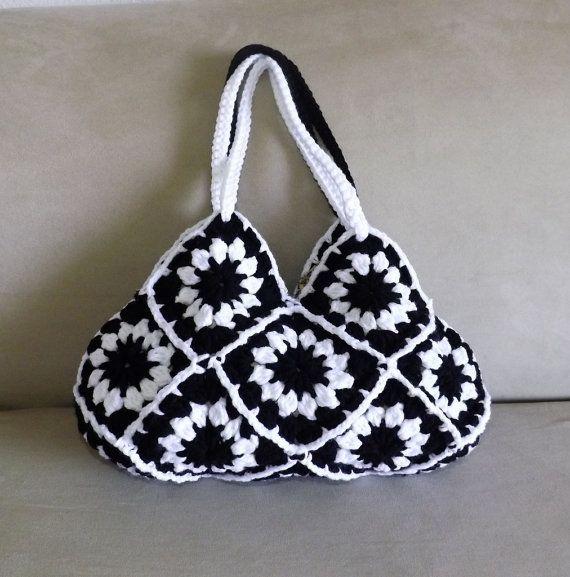 Crochet floral granny square mini purse, granny squares small evening ...