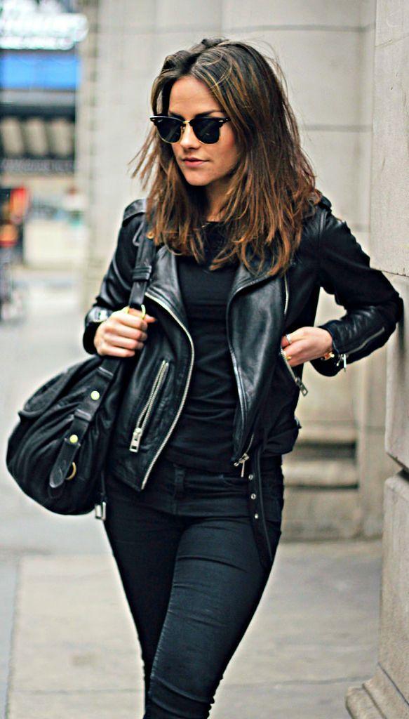 С чем носить черную кожаную куртку женскую