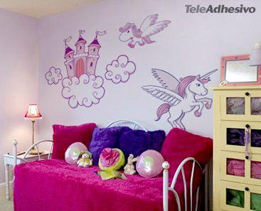 Pin by teleadhesivo vinilos decorativos on top vinilos for Cuarto unicornio nina