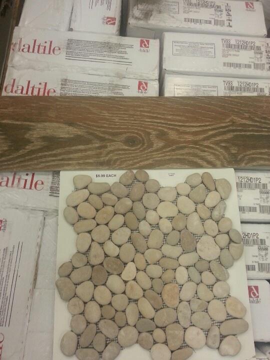 Wood Tile Floor And Shower River Rock Shower Tile Pinterest