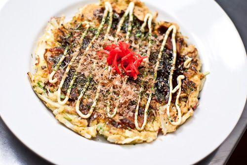 Finished Okonomiyaki. Japanese type fritter. Very interesting recipe.