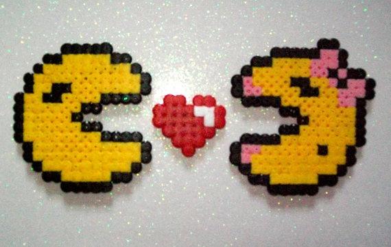 Mr & Mrs Pacman Fridge Magnets Love Kawaii Nintendo by HamaHeaven, £3.60
