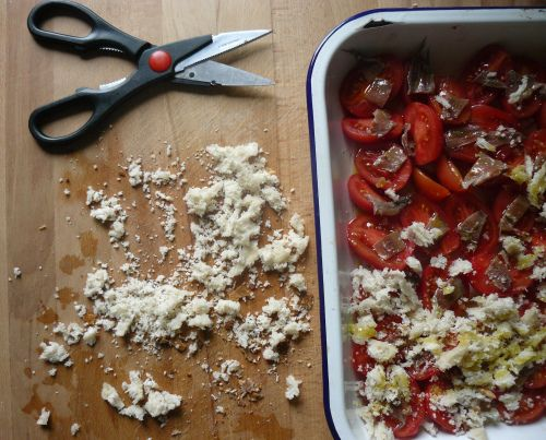 Linguine with oven roasted tomatoes, anchovies, rosemary and ...