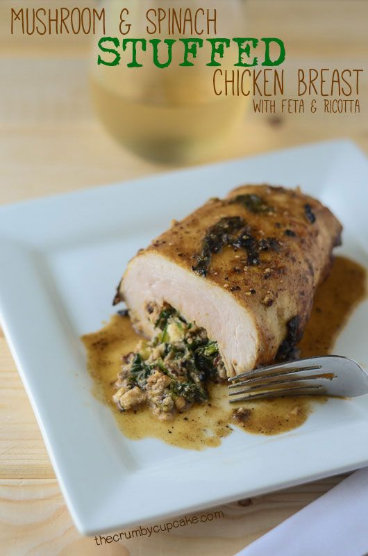 Mushroom Spinach Stuffed Chicken Breast {Via @crumbycupcake}