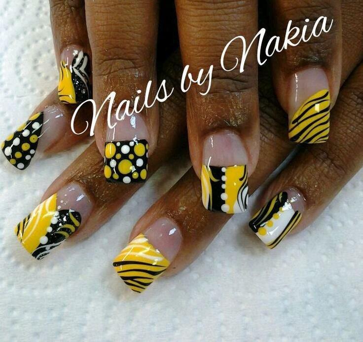 funky yellow nail design | Nailz | Pinterest