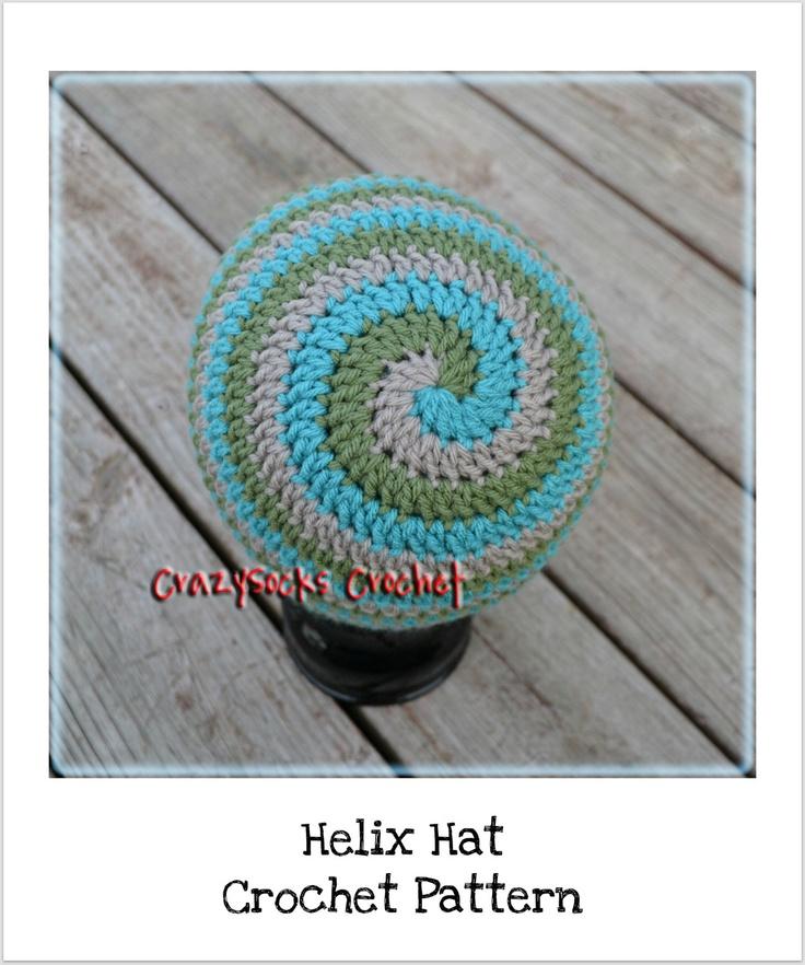 Crochet Hat Pattern Spiral : CROCHET PATTERN - Helix Hat - spiral beanie