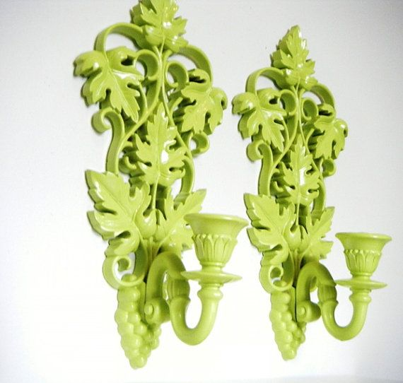 Key Lime Green Syroco Vintage Candle Wall Sconces Upcycled