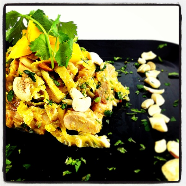 Spicy Mango Cashew Chicken Salad with Sunflower Butter and Coconut Dr ...